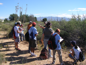 Students learning in the field.