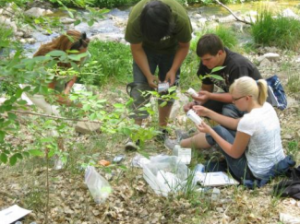 Students studying water quality in Silver City.